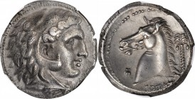 SICILY. Siculo-Punic. Entella. AR Tetradrachm (16.79 gms), ca. 300-289 B.C. NGC AU, Strike: 4/5 Surface: 3/5.