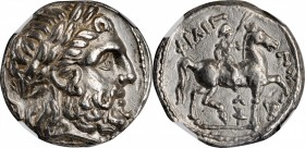 MACEDON. Kingdom of Macedon. Philip II, 359-336 B.C. AR Tetradrachm (14.23 gms), Amphipolis Mint, Struck under Kassander, ca. 307-297 B.C. NGC AU, Str...