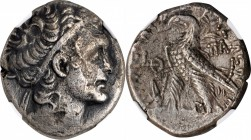 PTOLEMAIC EGYPT. Kleopatra VII Thea, 51-30 B.C. BI Tetradrachm, Alexandreia Mint, Dated RY 9 (44/3 B.C.). NGC EF, Strike: 4/5 Surface: 2/5. Scratches....