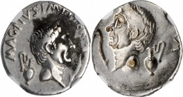 SEXTUS POMPEY. AR Denarius (3.87 gms), Uncertain mint in Sicily, 37/6 B.C. NGC Ch VF, Strike: 3/5 Surface: 3/5.