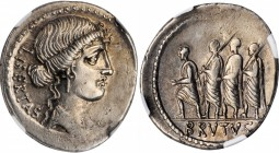 BRUTUS. AR Denarius (3.93 gms), Rome Mint, 54 B.C. NGC AU, Strike: 4/5 Surface: 3/5.