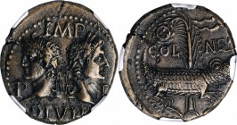 AUGUSTUS, with AGRIPPA, 27 B.C.- A.D. 14. Gaul, Nemausus. AE As (13.72 gms), ca. A.D. 10-14. NGC AU, Strike: 4/5 Surface: 4/5. Adjusted Flan.