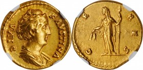 DIVA FAUSTINA SENIOR (WIFE OF ANTONINUS PIUS, DIED A.D. 140/1). AV Aureus (6.77 gms), Rome Mint, Struck under Antoninus Pius, circa A.D. 146-161. NGC ...