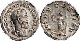 PUPIENUS, A.D. 238. AR Denarius (3.05 gms), Rome Mint, A.D. 238. NGC Ch AU, Strike: 4/5 Surface: 3/5.