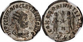 DIOCLETIAN, A.D. 284-305. BI Antoninianus (3.88 gms), Cyzicus Mint, 1st Officina, A.D. 290-292. NGC MS, Strike: 5/5 Surface: 4/5. Silvering.