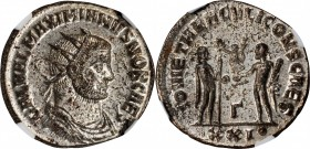 GALERIUS AS CAESAR, A.D. 293-305. BI Antoninianus (4.00 gms), Antioch Mint, 3rd Officina, A.D. 295. NGC MS, Strike: 5/5 Surface: 4/5. Silvering.