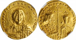 CONSTANTINE VII, with ROMANUS II, 913-959. AV Solidus (4.41 gms), Constantinople Mint, 945-959. NGC EF, Strike: 5/5 Surface: 4/5.