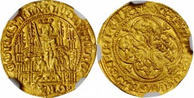 BELGIUM. Flanders. 1/4 Chaise d'Or, ND (1346-84). Bruges Mint. Louis II de Male. NGC MS-63.