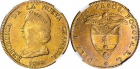 COLOMBIA. 16 Pesos, 1839/8-RS. Bogota Mint. NGC EF-45.