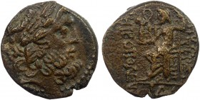 Greek, Syria, c. 1st Century BC, AE, Antioch ad Orontem  6.92 g, 19 mm, aVF  Obverse: Laureate head of Zeus right  Reverse: ANTIOXEΩN MHTΡOΠOΛEΩΣ, Zeu...