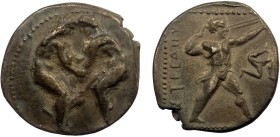 Greek, Pamphylia, AR Stater, Aspendos c. 400-370 BC 10.64 g, 23 mm, aVF, toned  Obverse: Two wrestlers grappling, all within dotted circle Reverse: EΣ...