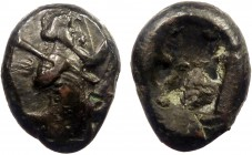 Greek, Kings of Persia, Darios I to Xerxes II, AR Siglos, Sardes c. 485-400 BC 5.57 g, 17 mm, aVF, toned  Obverse: Persian king or hero, wearing kidar...