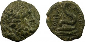 Greek, Mysia, 2nd-1st Cent. BC, AE, Pergamon 8.03 g, 20 mm, gF  Obverse: Laureate head of Asklepios right Reverse: AΣΚΛΗΠΙΟΥ / ΣΩΤΗΡΟΣ, Serpent coiled...
