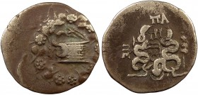 Greek, Phrygia, c. 76 BC, AR Cistophoric Tetradrachm, Apameia 11.42 g, 28 mm, aVF, toned  Obverse: Cista mystica with serpent emerging with wreath of ...