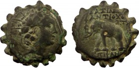 Greek, Seleukid Kings of Syria, Antiochos VI 145-141 BC, AE Serrated, Antioch  8.30 g, 21 mm, aVF  Obverse: Radiate head right, wreathed with ivy Reve...