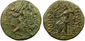 Greek, Syria, c. 1st Century BC, AE, Antioch ad Orontem  7.82 g, 19 mm, VF  Obverse: Laureate head of Zeus right  Reverse: ANTIOXEΩN MHTΡOΠOΛEΩΣ, Zeus...