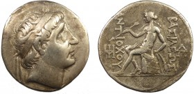 Greek, Seleukid Kings of Syria, Antiochos I Soter 281-261 BC, AR Tetradrachm, Tigris  16.74 g, 30 mm, aVF  Obverse: Diademed head right Reverse: BAΣIΛ...