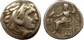 Greek, Kings of Macedon, Alexander III the Great 336-232 BC, AR Drachm, Colophon  4.18 g. 17 mm, aVF  Obverse: Head of Herakles right, wearing lion's ...