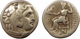 Greek, Kings of Macedon, Alexander III the Great 336-232 BC, AR Drachm, Colophon c. 310-301 BC 4.12 g, 17 mm, aVF  Obverse: Head of Herakles right, we...