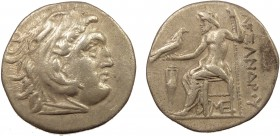 Greek, Kings of Macedon, Alexander III the Great 336-232 BC, AR Drachm, Lampsacus c. 310-301 BC 4.19 g, 19 mm, aVF  Obverse: Head of Herakles right, w...