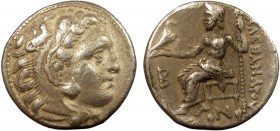 Greek, Kings of Macedon, Alexander III the Great 336-232 BC, AR Drachm, Colophon c. 310-301 BC 4.33 g, 17 mm, aVF  Obverse: Head of Herakles right, we...