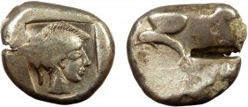 Greek, Pamphylia, c. 460-440 BC, AR Stater, Side 10.98 g, 23 mm, gF  Obverse: Pomegranate with smooth skin, dolphin swimming left below Reverse: Head ...