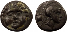 Greek, Pisidia c. 350-300 BC, AR Obol, Selge 0.97 g, 10 mm, VF, toned  Obverse: Facing gorgoneion Reverse: Helmeted head of Athena right; astragalos i...