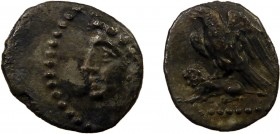 Greek, Cilicia c. 4th Century BC, AR Obol, uncertain 0.66 g, 11 mm, aVF, toned  Obverse: Youthful male head left, wearing grain wreath Reverse: Eagle ...