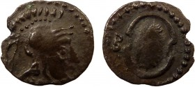 Greek, Cilicia, Balakros satrap of Cilicia, 333-323 BC, AR Obol, Tarsos 0.49 g, 10 mm, aVF, toned  Obverse: Helmeted head of Athena right Reverse: Boe...
