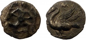 Greek, Cilicia, c. 425-385, AR Obol, Mallos 0.59 g, 9 mm, aVF, toned  Obverse: Winged male figure advancing right, holding disk  Reverse: Swan standin...