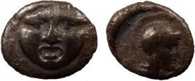 Greek, Pisidia, c. 350-300 BC, AR Obol, Selge 0.92 g, 9 mm, aVF, toned  Obverse: Facing gorgoneion Reverse: Helmeted head of Athena right Reference: S...