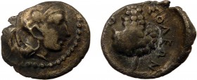Greek, Cilicia, c. 350-330 BC, AR Obol, Soloi 0.79 g, 9 mm, aF, toned  Obverse: Head of Athena right, in crested Corinthian helmet Reverse: ΣOΛEΩN, bu...