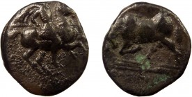 Greek, Ionia, uncertain magistrate c. 350-325 BC, AR Hemidrachm, Magnesia ad Maeandrum 1.30 g, 13 mm, aF, toned  Obverse: Horseman with couched spear ...