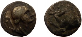 Greek, Ionia, c. 245-202 BC, AR Obol, Ephesos  0.45 g, 8 mm, aVF, toned  Obverse: Draped bust of Artemis right, quiver at shoulder Reverse: Forepart o...
