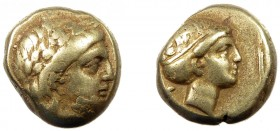 Greek, Lesbos, c. 377-326 BC, EL Hekte, Mytilene  2.54 g, 10 mm, aVF  Obverse: Laureate head of Apollo right Reverse: Head of Artemis right, hair in s...
