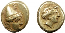 Greek, Lesbos, c. 377-326 BC, EL Hekte, Mytilene  2.55 g, 11 mm, VF  Obverse: Head of a Kabiros right, wearing laureate pileus, two stars above Revers...