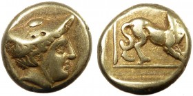 Greek, Lesbos, c. 377-326 BC, EL Hekte, Mytilene  2.51 g, 11 mm, aVF  Obverse: Head of Hermes right, in kausia Reverse: Crouching panther within linea...