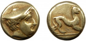 Greek, Lesbos, c. 377-326 BC, EL Hekte, Mytilene  2.53 g. 11 mm, VF  Obverse: Head of Hermes right, in kausia Reverse: Crouching panther within linear...