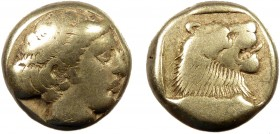 Greek, Lesbos, c. 454-427 BC, EL Hekte, Mytilene  2.50 g, 10 mm, aVF  Obverse: Head of Persephone to right Reverse: Head of a lion to right within inc...