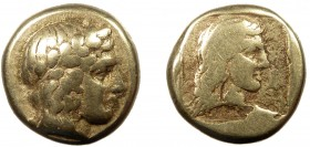 Greek, Lesbos, c. 396 BC, EL Hekte, Mytilene  2.50 g, 11 mm, aVF  Obverse: Laureate head of Apollo right Reverse: Female head right with long flowing ...