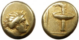 Greek, Lesbos, c. 352 BC, EL Hekte, Mytilene  2.52 g, 11 mm, VF  Obverse: Bust of maenad right, head thrown back, hair bound with sphendone, drapery c...