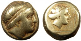 Greek, Lesbos, c. 375-325 BC, EL Hekte, Mytilene  2.51 g, 10 mm, VF  Obverse: Diademed head of youthful river-god right, small horn over forehead  Rev...