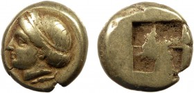 Greek, Ionia, c. 400-387 BC, EL Hekte, Phocaea  2.54 g, 11 mm, VF  Obverse: Head of goddess or young woman left, her hair bound with a sphendone Rever...
