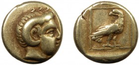 Greek, Lesbos, c. 330 BC, EL Hekte, Mytilene  2.52 g, 12 mm, VF  Obverse: Head of Apollo Karneios right, with horn of Ammon Reverse: Eagle standing ri...