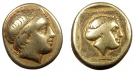 reek, Lesbos, c. 375-325 BC, EL Hekte, Mytilene  2.47 g, 12 mm, aVF  Obverse: Diademed head of youthful river-god right, small horn over forehead  Rev...