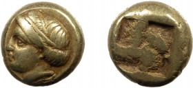 Greek, Ionia, c. 400-387 BC, EL Hekte, Phocaea  2.53 g, 10 mm, VF  Obverse: Head of goddess or young woman left, her hair bound with a sphendone Rever...