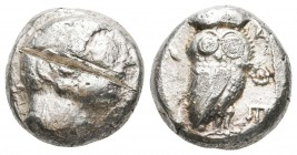 Greek, Archaic Attica, c. 510-490 BC, AR Tetradrachm, Athens, F/VF Obverse: Head of Athena right, wearing earring and crested Attic helmet, hair shown...