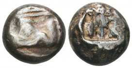 Greek, Caria, c. 520-490 BC, AR Stater ,Obverse: Forepart of a lion right; monogram on shoulder Reverse: Incuse punch with pattern Reference: SNG von ...