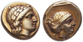 Greek, Lesbos, c. 377-326 BC, EL Hekte, Mytilene .Obverse: Laureate head of Apollo right Reverse: Head of Artemis right, hair in sakkos, within linear...