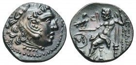 Greek, AR Drachm,  Celtic imitation, Eastern Europe, at left M monogram in circle above grape bunch, OTA 575-5, EF, centered, sharply struck & well de...